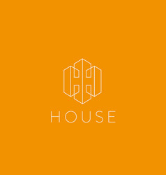Lined letter h house logotype premium home vector