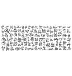 Mega set of 100 hand written lettering vector