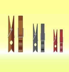 Metal clothes pin set vector image