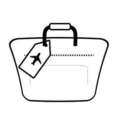 outline hand luggage travel bag tourist vector image