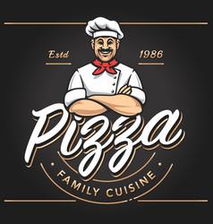 pizzeria emblem design vector image vector image