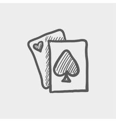 Playing card sketch icon vector