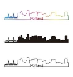 Portland skyline linear style with rainbow skyline vector