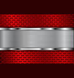 Red metal perforated background with shiny chrome vector