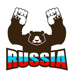 Russian bear Angry beast predator and Russia flag vector image vector image