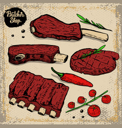set of beef ribs grilled steak with cherry vector image vector image