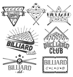 set of billiard labels in vintage style vector image