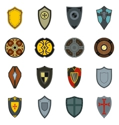Shields icons set flat style vector image
