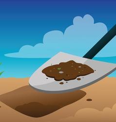 Shovel digging vector