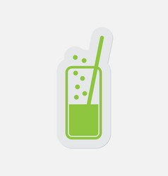 Simple green icon - carbonated drink and straw vector