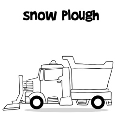 Snow plough with hand draw vector
