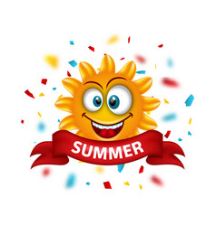 summer banner with cartoon smiling sunny vector image