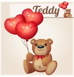 Teddy bear with heart balloons vector image vector image