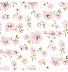 Watercolor pink flowers seamless pattern over vector image vector image