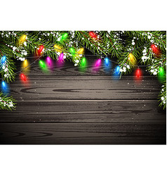 Wooden background with christmas lights vector