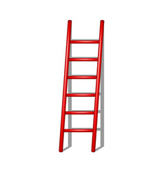 Wooden ladder in red design with shadow vector