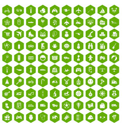 100 toys for kids icons hexagon green vector