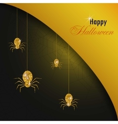 Golden spiders and web Halloween background Gold vector image
