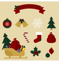 Colourful christmas set in traditional colours vector