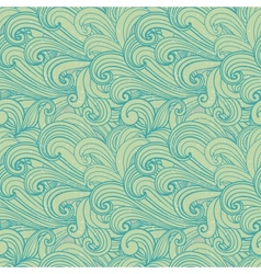 Light green hand-drawn pattern waves background vector