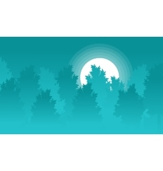 Silhouette of forest with moon landscape vector