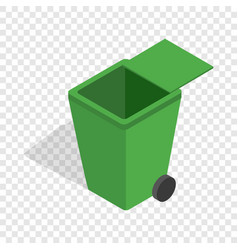 open green garbage container isometric icon vector image