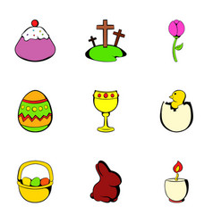 easter holiday icons set cartoon style vector image