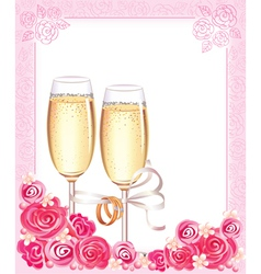 Wedding champagne glasses vector image