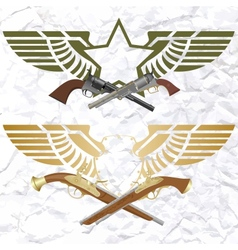 Badges with wings and arms vector