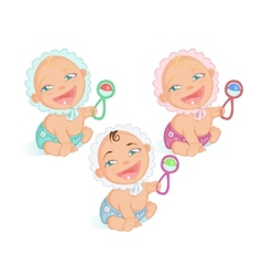 Smiling babies set vector