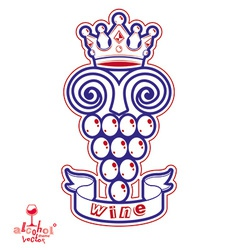 Grape vine with royal crown winery or racematio vector