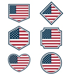 Set of american flags and hearts3 vector