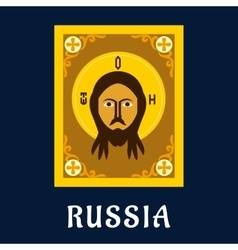 Jesus christ icon in russian traditional style vector
