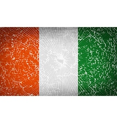 Flags cote dlvoire with broken glass texture vector