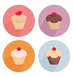 Cake flat icon set isolated on white background vector