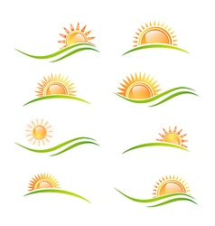 Sun at Landscape Collection vector image