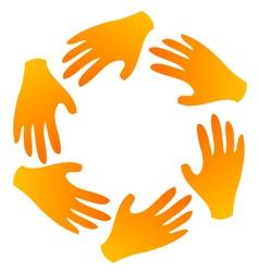 Teamwork hands around vector image