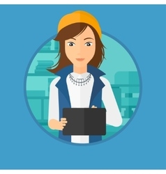 Woman using tablet computer vector