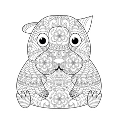Hamster coloring book for adults vector