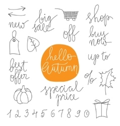 Autumn sale prases and icons vector