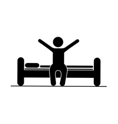 black silhouette pictogram person in bed waking up vector image
