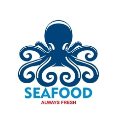 Blue pacific octopus icon for seafood menu design vector image vector image
