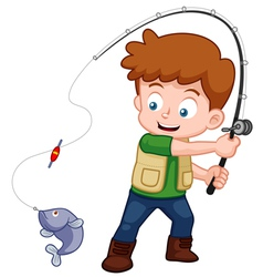 Boy fishing vector image vector image
