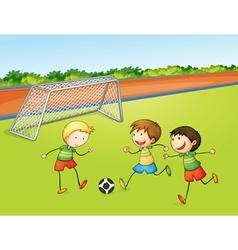 boys playing football vector image vector image