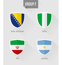 Brazil Soccer Championship 2014 Group F flags vector image vector image