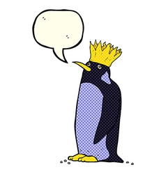 Cartoon emperor penguin with speech bubble vector
