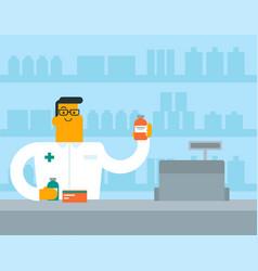 Caucasian white pharmacist showing some medicine vector