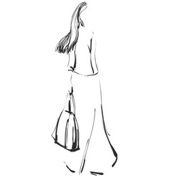 fashion models sketch cartoon girl vector image