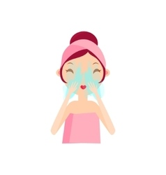 Girl rinsing her face vector