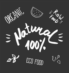 hand drawn healthy food brush lettering organic vector image vector image